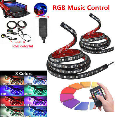 2 Pcs 150cm Car SUV Waterproof Neon Glow Light RGB LED Bed Light with Remote Kit