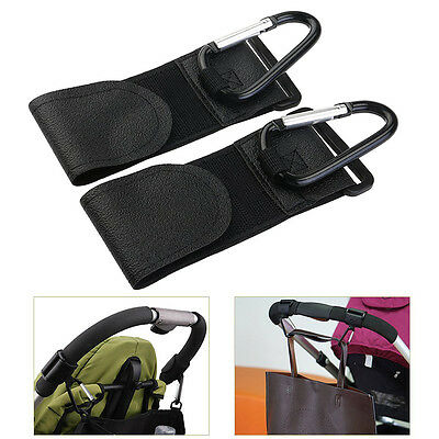 2Pcs Buggy Pram Pushchair Stroller Metal Clip Hooks for Hanging Black