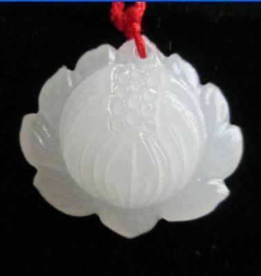 New Chinese hand-carved beautiful lotus flower natural white jade pendant