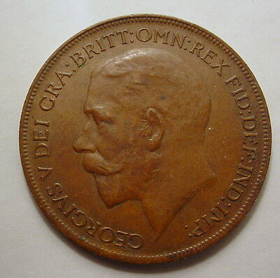 Great Britain GB UK King George V 1922 One Penny Gra Britt Omn Rex Nice Coin