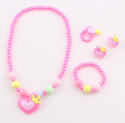Exciting Baby Toddler Girls' Earrings, Necklace Bracelet and Ring Bead Set
