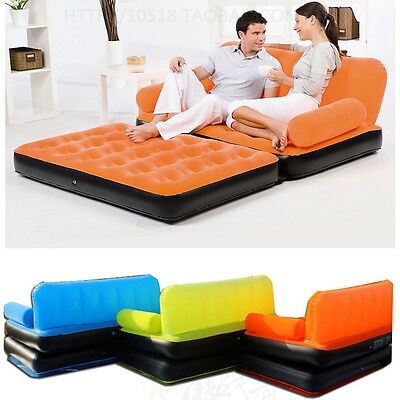 Inflatable Pull-Out Sofa Couch & Full Double Air Bed Mattress Sleeper Flocked