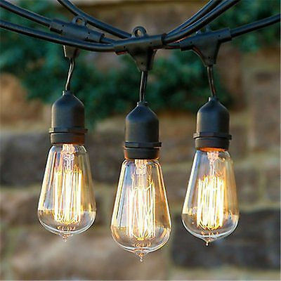 25/50/100 ft Waterproof Outdoor Patio Yard String Lights Hanging Bulbs E27 Decor