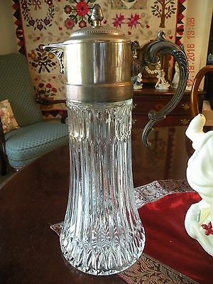 Antique Lead Crystal and Pewter Large Claret Carafe / Decanter