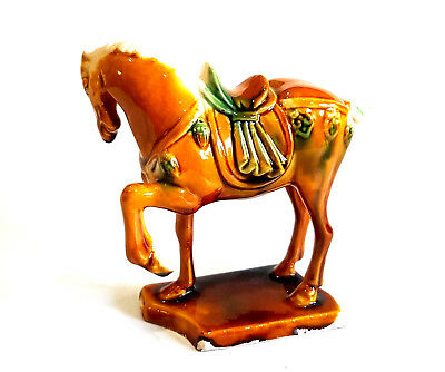 Chinese Ceramic Small Tang War Horse Figurine Ornament Glazed Finish Brown Green
