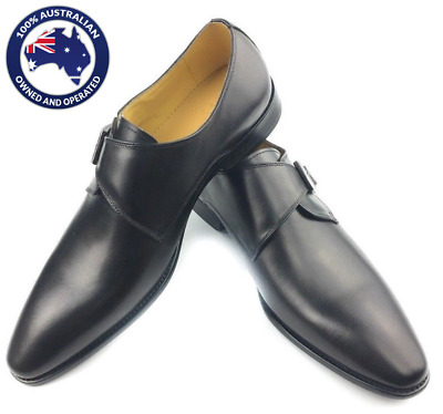 MENS SHOES LEATHER BlACK DOUBLE STRAP WAXED FORMAL DRESS WEDDING SHOES
