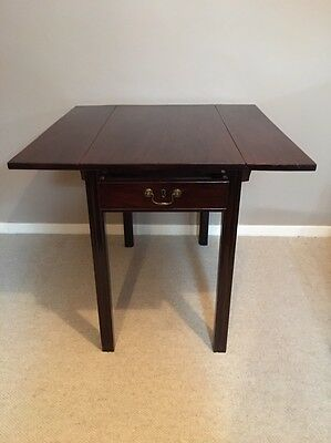 Georgian circa 1790 Mahogany Small Drop Leaf Pembroke Table With Draw