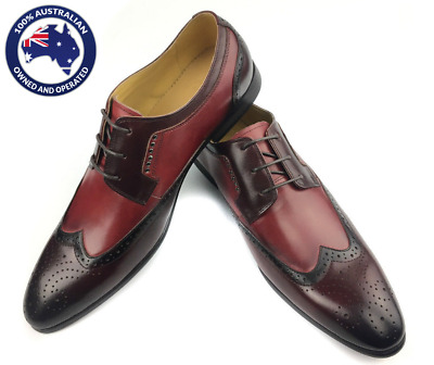Mens Shoes Leather Wingtip Brogue Red Derby Leather Formal Wedding Shoes