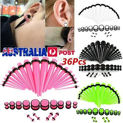 36Pcs Acrylic Ear Taper Stretcher Tunnels Plugs Expander Stretching Kit Set AU