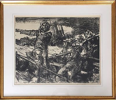 Sir Frank Brangwyn large lithograph signed in pencil of Sailors In A Lifeboat