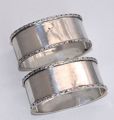 46g Pair of Vintage RODD Sterling Silver Napkin Rings - Oval