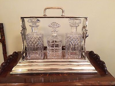 Antique English Silver Tantalus (3) Crystal Bottle Decanter Set Liquor Caddy