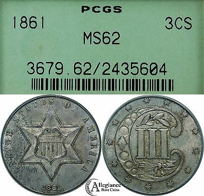 1861 Three Cent Silver PCGS MS62 OGH old green holder rare old type coin 3 c.