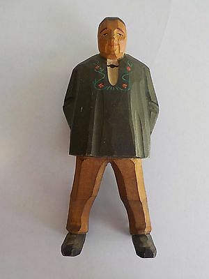 Vintage Hand Carved Wooden Figure Folk Art Americana man cap European style deco