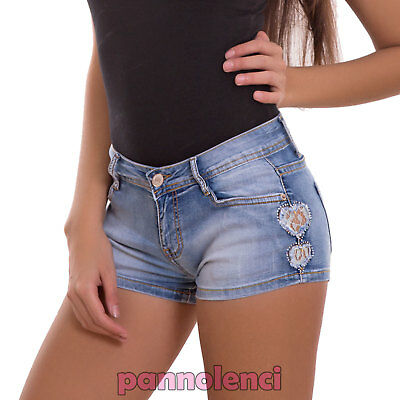 shorts women's jeans shorts skinny hearts lace strass hot pant new H393