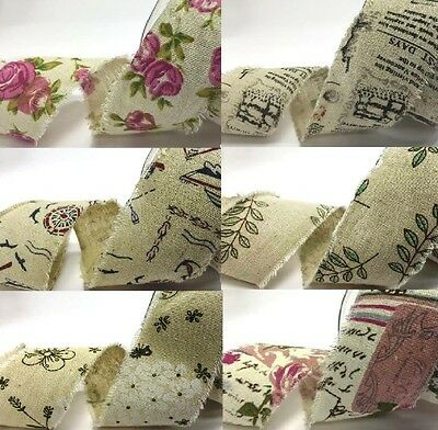 Bertie's Bows 50mm Printed Burlap Ribbon - sold on a 10m roll or by the metre