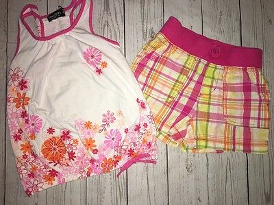 Girls 6 7 8 Summer Outfit Tank Top Shirt Shorts Plaid Pink Clothes TCP Place