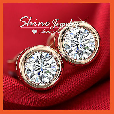 18Ct Rose Gold Gf Lab Diamond Solid Mens Womens Girls Bezel Round Stud Earrings