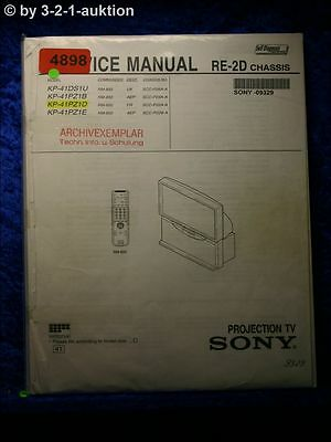 Sony Service Manual KP 41PZ1D /41DS1U /41PZ1B /41PZ1E Projection TV (#4898)