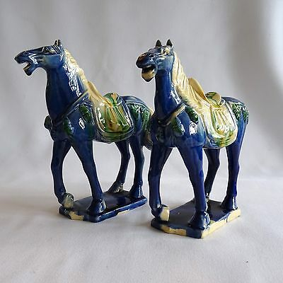 Pair of Tsang Sancai Style Horse Figures in Blue Chinese