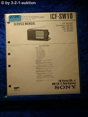 Sony Service Manual ICF SW10 12 Band Receiver (#2726)