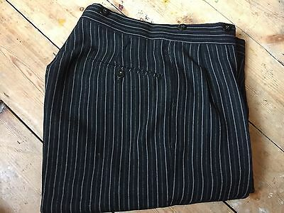 Men's Vintage Bespoke 1930's Morning  Suit trousers Wool Grey Size 31 X 30