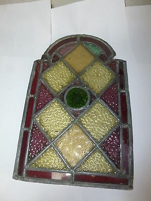 Vintage Leaded Stained Glass Door Window Panel 12 ins tall