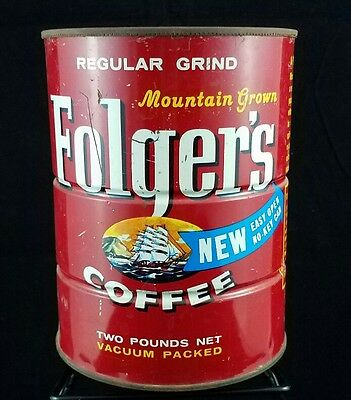 Vintage 1959 FOLGERS COFFEE CAN Tin Ship