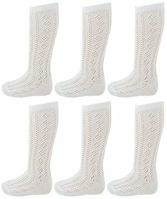 6 Pairs Girls Pelerines Back To School Uniform White Knee High Socks All Size