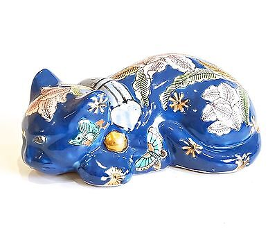 Vintage Chinese Ceramic Sleeping Cat Figurine Hand Painted Floral Blue