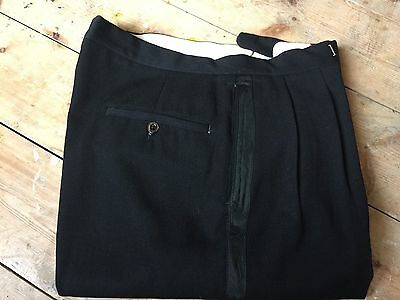 Btt13 Vintage Barathea Black Tie Evening Dj Trousers Size 36 X 32
