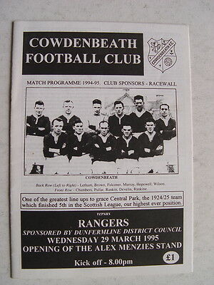 Cowdenbeath v Rangers 1995 Opening of the Alex Menzies Stand
