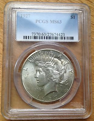 1927 $1 Silver Peace Dollar PCGS MS63