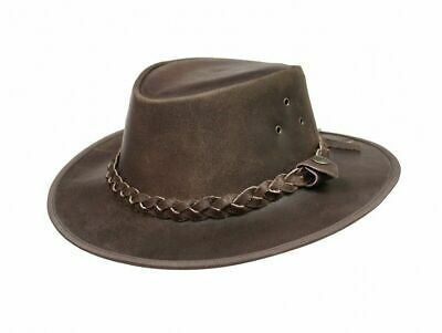 Australian Style Hat Leather Brown Cowboy Bush Hat Western With Free Chin Strap
