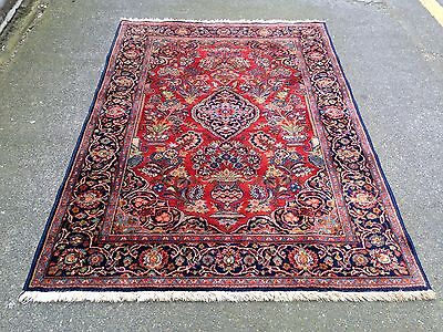 Vintage Persian Kashan Design Rug With Medallion Machine Made Wool