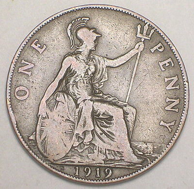 1919 H UK Great Britain British One 1 Penny WWI Era Coin F+