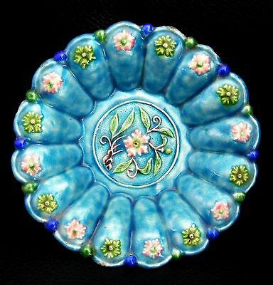 Small Antique Chinese Famille Rose Blue Enamel Copper Fluted Dish Plate Bowl