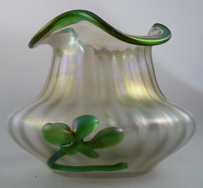 KRALIK BOHEMIAN ART NOUVEAU GLASS BOWL GREEN TRAILED DECORATION c.1900 STUNNING!