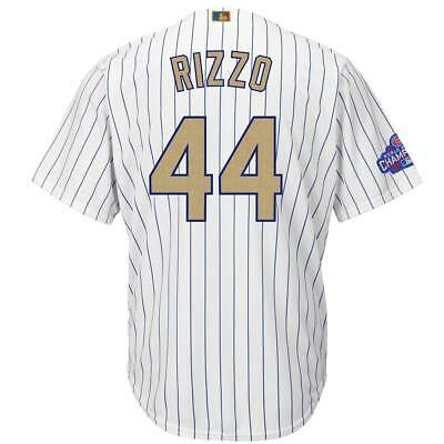 Majestic Anthony Rizzo #44 Chicago Cubs Cool Base MLB Trikot Gold