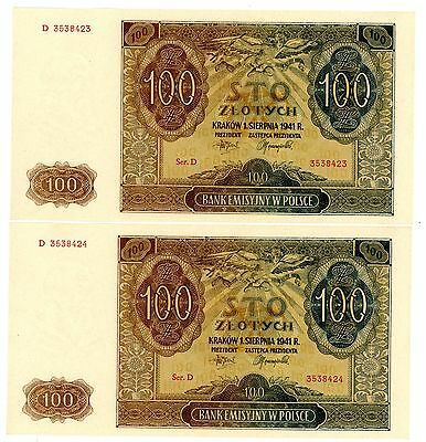 Poland ... P-103 ... 100 Zlotych ... 1941 ... (~)*UNC*  Consecutive Pair.