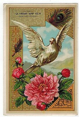 LARGE Victorian Tradecard La Crosse Soap Company La Crosse Wisconsin White Dove