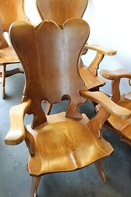 antique oak dutch hand carved carver chairs arm chairs vintage