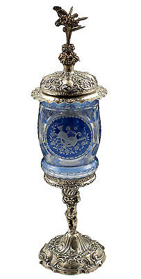 19thC Bohemian Glass Covered Urn on Figural 800 Silver Base