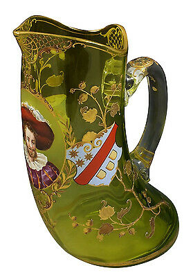 Beautiful 19thC Moser Enameled Art Glass Pitcher w/ Portrait Medallion