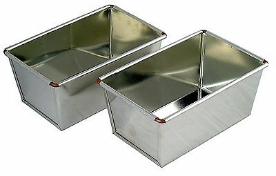 2LB Loaf Tin Twin Pack Tinplate Ideal for Farmhouse & Standard Size By Lets Cook