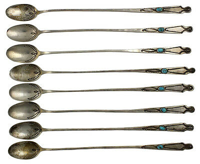 Set of Eight Antique Navajo Indian Silver Ice Tea Spoons w/ Turquoise