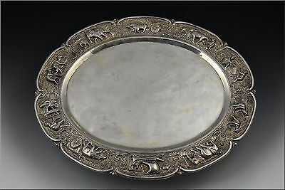 Fine Large Burmese Sterling Silver Tray w/ Elephants, Characters Farming & Oxen