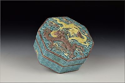 Qing Dynasty Chinese Porcelain Covered Box w/ Raised Dragons