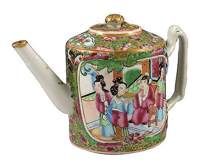 19thC Antique Chinese Export  Famille Rose Mandarin Teapot w/ Bud Finial