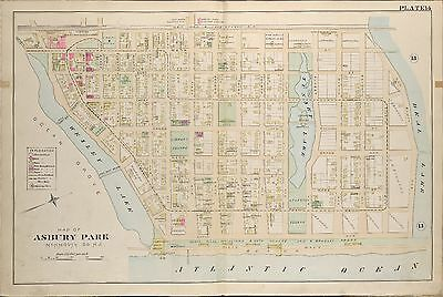1889 Asbury Park, Monmouth County, New Jersey, Sunset Lake, Copy Plat Atlas Map
